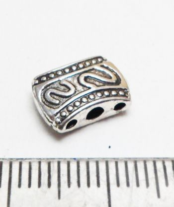 Three strand Oval spacer beads. 11mm x 7mm x 3mm. Silver.